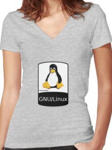 Powered by GNU/Linux ! Women's Fitted V-Neck T-Shirt
