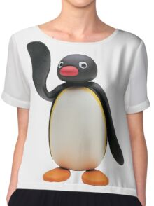 Pingu Waving Design Chiffon Top