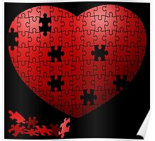 Puzzle Heart in pieces, missing some pieces to complete Poster