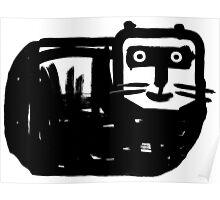 Dicke schwarze Katze Poster