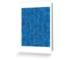 Robot pattern - Blue Greeting Card