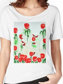 geese and tulips Women's Relaxed Fit T-Shirt