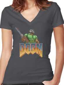 DOOM SPACE MARINE (1) Women's Fitted V-Neck T-Shirt