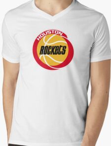 HOUSTON ROCKETS BASKETBALL RETRO Mens V-Neck T-Shirt