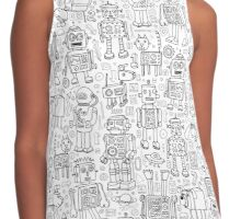 Robot pattern - black and white Contrast Tank
