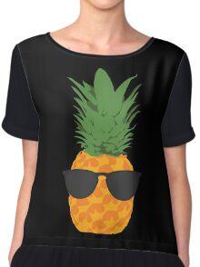 Cool Pineapple With Sunglasses Chiffon Top