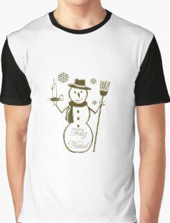 Gold Snowman Portuguese Merry Christmas Feliz Natal Graphic T-Shirt