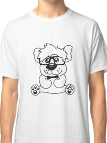 nerd geek smart hornbrille clever fly cool young comic cartoon teddy bear Classic T-Shirt