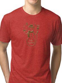 Gold Snowman Spanish Merry Christmas Feliz Navidad Tri-blend T-Shirt