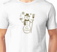 Gold Snowman Spanish Merry Christmas Feliz Navidad Unisex T-Shirt