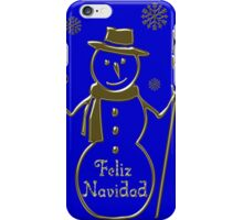 Gold Snowman Spanish Merry Christmas Feliz Navidad iPhone Case/Skin