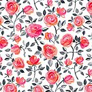 Roses on White - a watercolor floral pattern by micklyn