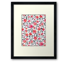 Roses on White - a watercolor floral pattern Framed Print