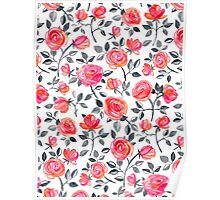 Roses on White - a watercolor floral pattern Poster