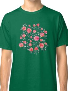 Roses on White - a watercolor floral pattern Classic T-Shirt