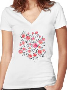 Roses on White - a watercolor floral pattern Women's Fitted V-Neck T-Shirt