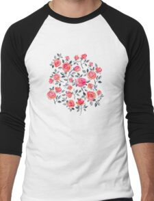 Roses on White - a watercolor floral pattern Men's Baseball ¾ T-Shirt