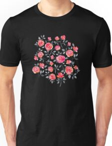 Roses on White - a watercolor floral pattern Unisex T-Shirt