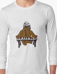 music, piano, keyboard party ribbon bass buttons play dance hat cool club concert hardrock heavy metal teddy bear Long Sleeve T-Shirt