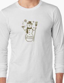 Gold Snowman Seasons Greetings Long Sleeve T-Shirt