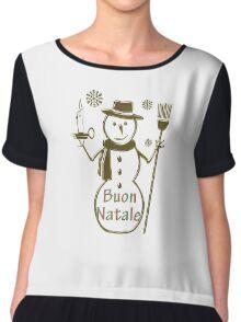 Gold Snowman Italian Merry Christmas Buon Natale Chiffon Top