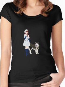 Girl with a dog Women's Fitted Scoop T-Shirt