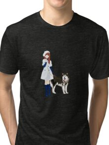 Girl with a dog Tri-blend T-Shirt