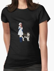 Girl with a dog Womens Fitted T-Shirt