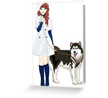 Girl with a dog Greeting Card