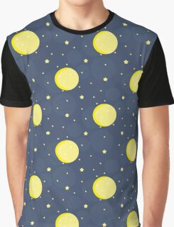 Moon and stars on blue sky Graphic T-Shirt