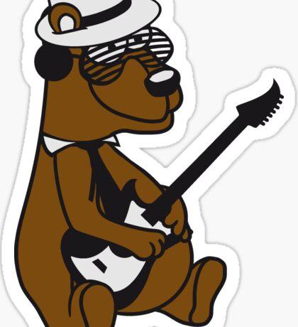 music electro guitar electric guitar party ribbon bass guitar hat cool playing dance club concert hardrock heavy metal teddy bear Sticker