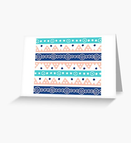 Coral Blue Teal hand drawn pattern tribal  Greeting Card