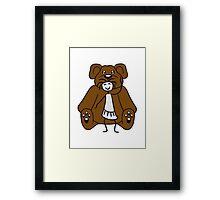 cuddle girl stroking sitting cute little teddy thick sweet cuddly comic cartoon Framed Print