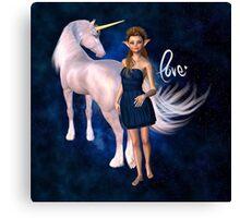 Unicorn Elf Willow Rain Love Canvas Print