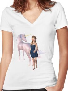 Unicorn Elf Willow Rain Love Women's Fitted V-Neck T-Shirt