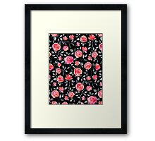 Roses on Black - a watercolor floral pattern Framed Print
