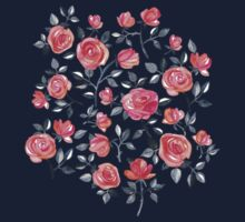 Roses on Black - a watercolor floral pattern Kids Tee