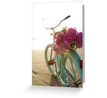 Beach cruiser with peonies #2 Greeting Card