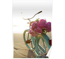 Beach cruiser with peonies #2 Poster