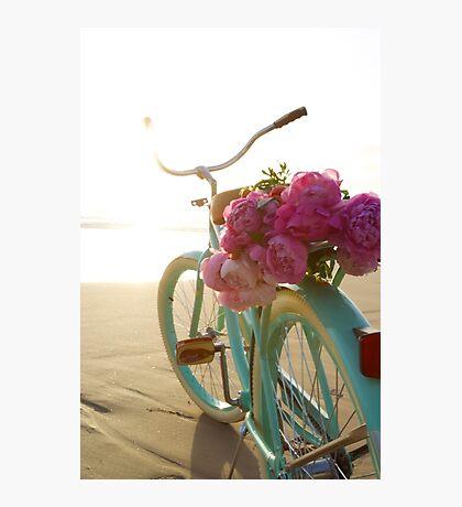 Beach cruiser with peonies #2 Photographic Print