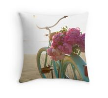 Beach cruiser with peonies #2 Throw Pillow