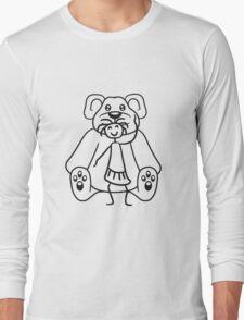 cuddle girl stroking sitting cute little teddy thick sweet cuddly comic cartoon Long Sleeve T-Shirt
