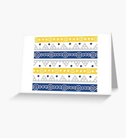 Blue Yellow Hand Drawn Tribal Pettern Greeting Card