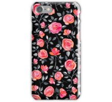 Roses on Black - a watercolor floral pattern iPhone Case/Skin