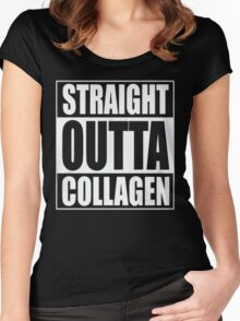 STRAIGHT OUTTA COLLAGEN Women's Fitted Scoop T-Shirt