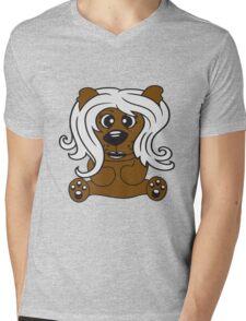 girls, women, female long hair nice pretty sitting Teddy comic cartoon sweet cute Mens V-Neck T-Shirt