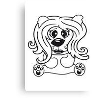girls, women, female long hair nice pretty sitting Teddy comic cartoon sweet cute Canvas Print
