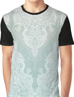 Lace & Shadows - soft sage grey & white Moroccan doodle Graphic T-Shirt
