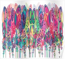 Whimsical Watercolor Flowers Blue Poster
