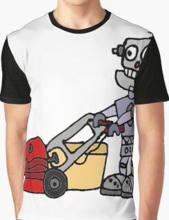 Funny Cool Robot Mowing Lawn Graphic T-Shirt